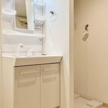 洗面台と洗濯機置き場は隣り合わせ。タオル掛けもクリアでオシャレです!