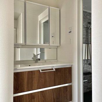 洗面台は豪華〜!鏡が大きいので身支度しやすいですね!