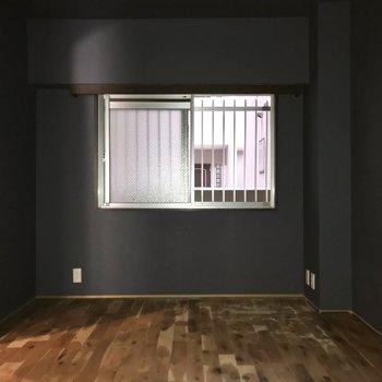 洋室は光が入らないので照明必須です…!テレビは置けますよ(※フラッシュ撮影しています)