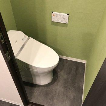 トイレは優しい緑色でした