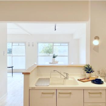 グリーンを眺めながら料理。毎日キッチンに立つのが楽しくなりそうです!(※写真の家具・小物は見本です)