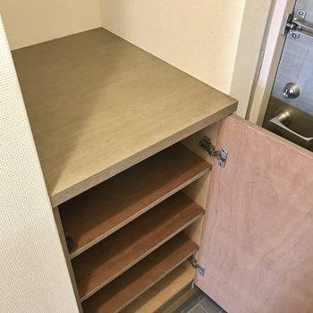シューズボックスの上には鍵を置いたり、可愛くディスプレイできそう♩(※写真は6階の反転間取り別部屋のものです)