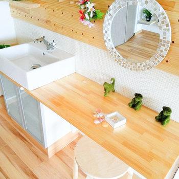 気分が高まる洗面台♩(※写真は6階の反転間取り別部屋、モデルルームのものです)