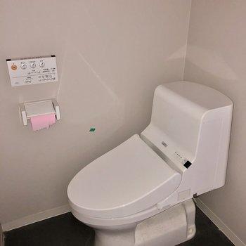 1番奥の壁側にトイレです。ウォシュレット付き(※写真は清掃前、フラッシュ撮影のものです)