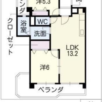 間取りは在宅ワーク用のスペースも持てる2LDK。