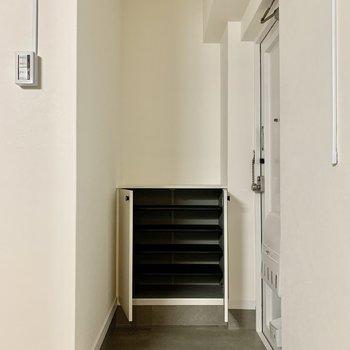 玄関は普通サイズかな?シューズボックスの上には、鍵などを置くと良さそう。