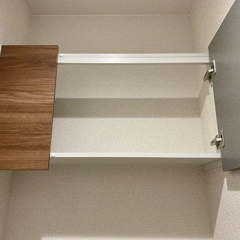 こういう棚があると収納しやすくて便利なんだよなあ。