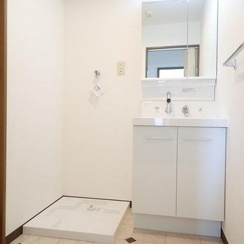 洗面台と洗濯機はおとなりに。どちらも新品です!