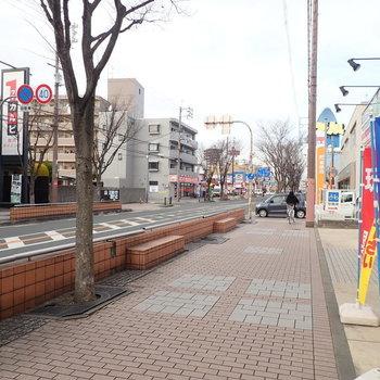 【周辺環境】駅からの道沿いにはあらゆるお店が並んでいます。生活で使うものはだいたい揃いそう。