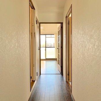 玄関前。白いクロスはじつは漆喰風の模様なんです。