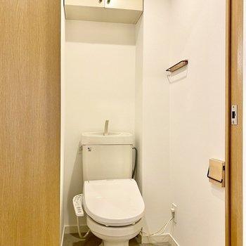 個室のトイレにも上部収納付き。