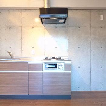 背後の打ちっ放しコンクリートと、四角形が並ぶ様がクールなキッチン。