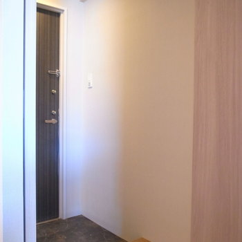 玄関ホールの床はトイレと同じ、いい色味。