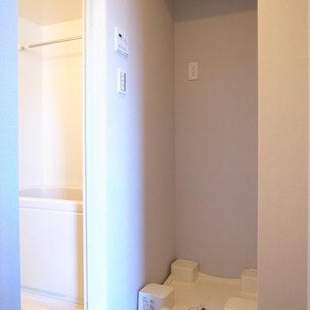 脱衣所には洗濯パンがいっしょ。