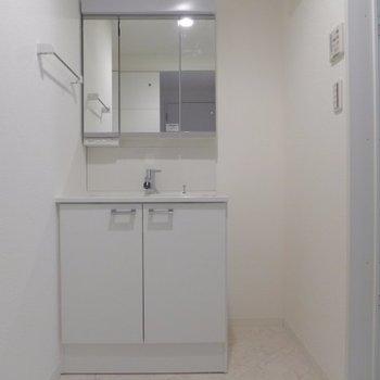 洗面台も大きめ、隣にはスリムなラックも入りそう(※写真は1階の同間取り別部屋のものです)