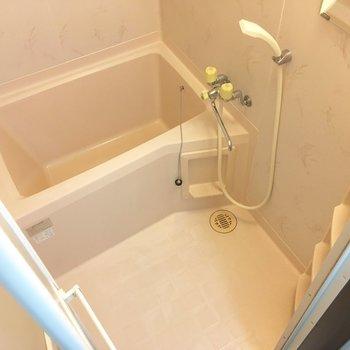 清潔感のある浴室。ラックと鏡も付いてますね。※写真は前回募集時のものです