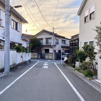 お部屋前の通り。閑静な住宅街に囲まれていますよ。