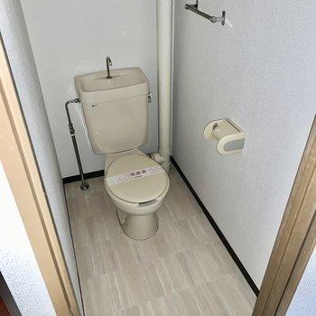 奥行きのあるトイレ。(※写真はフラッシュ撮影したものです)
