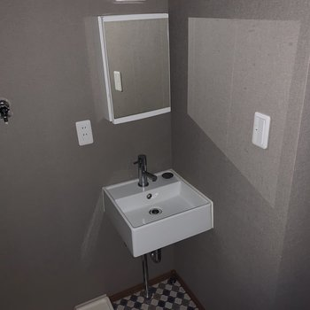 シンプルな形の洗面所(*フラッシュを使用しています)