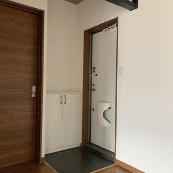 玄関。見た目はやや狭めですが、靴を履いたり脱いだりする分に苦労は感じませんでした。