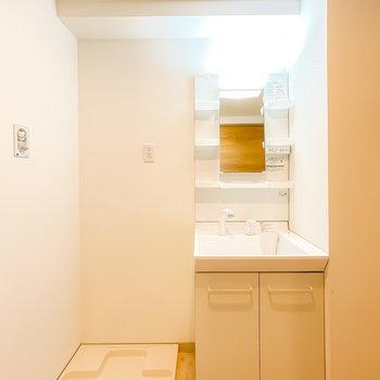 脱衣所に入ると洗面台がお出迎え。シンプルだけど棚付きで、シャンプードレッサーもあり使いやすそう。(※写真は3階の同間取り別部屋のものです)