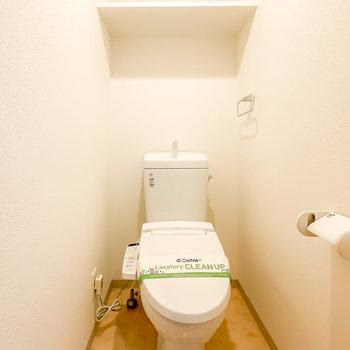 トイレはウォシュレット付き。設備が充実しているのが嬉しいですね。(※写真は3階の同間取り別部屋のものです)