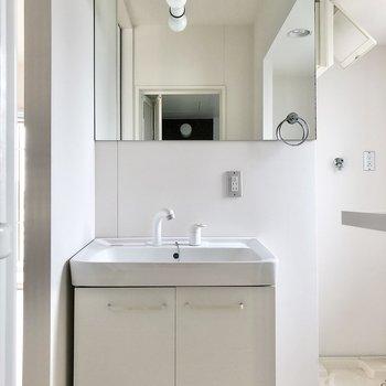 まずは大きい鏡のスタイリッシュ洗面台。