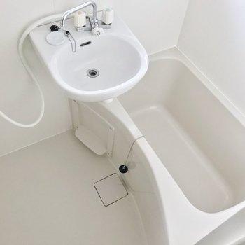 洗面台はお風呂と一緒。洗顔などはキッチンを使うのもよさそう。