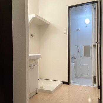玄関入ってすぐ左が脱衣所です。仕切り戸はありません。