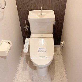 トイレは温水洗浄付きとシンプルながらも嬉しい設備◯