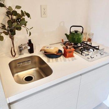 2口コンロで同時調理も◎洗い物はこまめにすると良さそうですね。