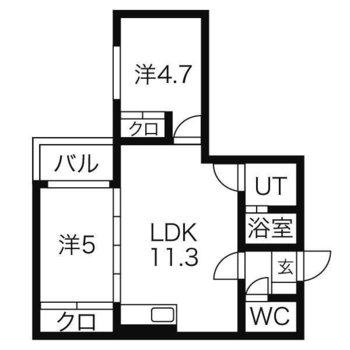 2人入居可能2LDKのお部屋。