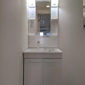 独立式洗面台なので身支度がしやすいですよ。