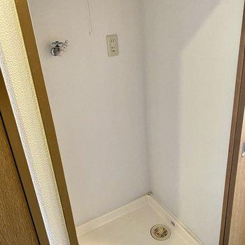 収納奥に洗濯機置場。照明付きで洗濯機の奥まで見えます。扉付きで生活感も隠せる◎