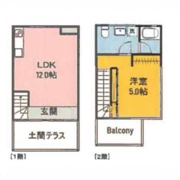 お部屋はメゾネット。2階は寝室にしましょう。