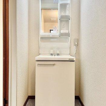 浴室を出ると独立洗面台があります。