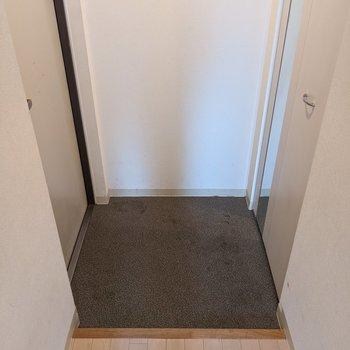玄関スペースは少しコンパクトなので靴はシューズボックスに収納しましょう。
