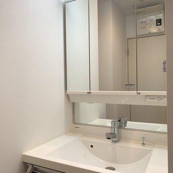ユーティリティー入って正面は広々と使いやすそうな洗面所。(※写真は10階の反転間取り別部屋のものです)