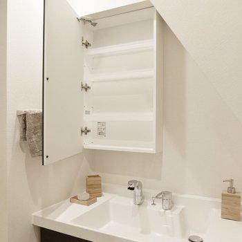 鏡裏に歯ブラシや洗剤を置いておけますよ。