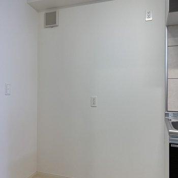 隣に電化製品を置けますよ◯(※写真は10階の反転間取り別部屋のものです)