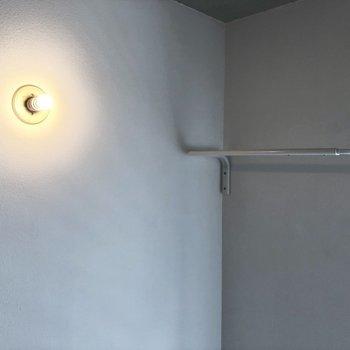 左横には収納のヒントになりそうなフック。※写真は別棟2階の同間取り別部屋のものです