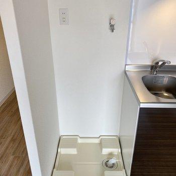 洗濯パンはキッチンと横並び。