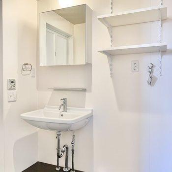 鏡が大きくてスタイリングが楽々に。横には洗濯機置き場があります。