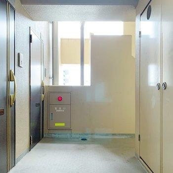 共用部はこんな感じ。お部屋まではエレベーターで!
