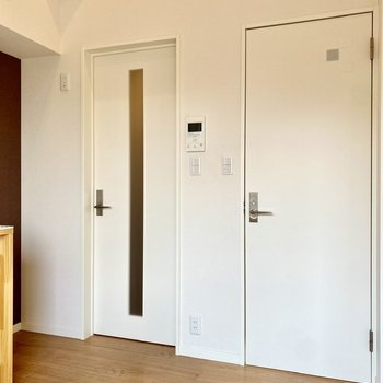 キッチン右には玄関への扉と脱衣所への扉