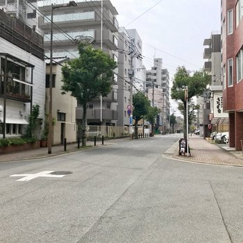 まわりはこのような道。舞鶴公園と大濠公園もすぐ近くです!