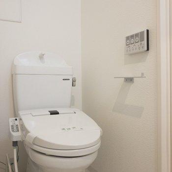向かいにはウォシュレット付きトイレが!※写真は5階の同間取り別部屋のものです
