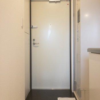 玄関向かって左手が靴箱ですね。※写真は5階の同間取り別部屋のものです