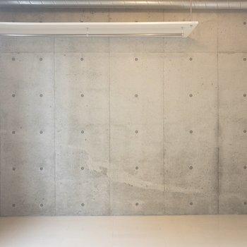 コンクリート壁面にはオープンラックが付いてます。重さは5kgまで。※写真は5階の同間取り別部屋のものです