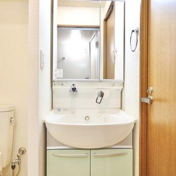 手前側には洗面台。鏡が大きく、身支度がしやすそう!(※写真は4階の同間取り別部屋のものです)